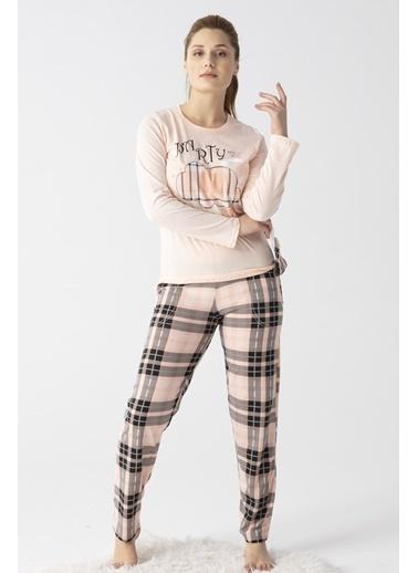 Pemilo Kadın 2800-8 Ekose Desenliı Cepli Uzun Kol Pijama Takımı SOMON Somon
